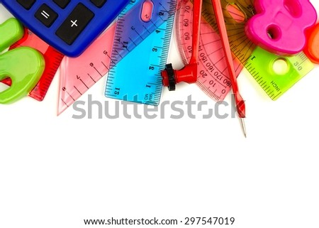 Border of colorful school supplies with math theme on a white background  - stock photo