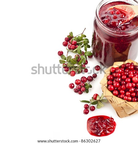 Border of cranberries isolated on white background - stock photo