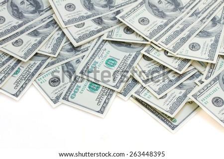 border of dollar bills isolated on white background - stock photo