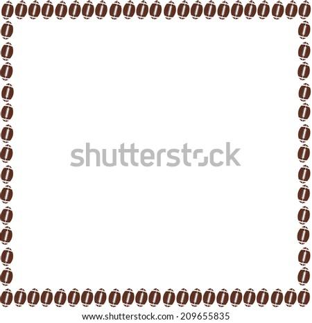 border of footballs on white - stock photo