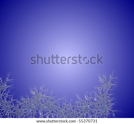 Border of  frost against a wintry blue background - stock photo