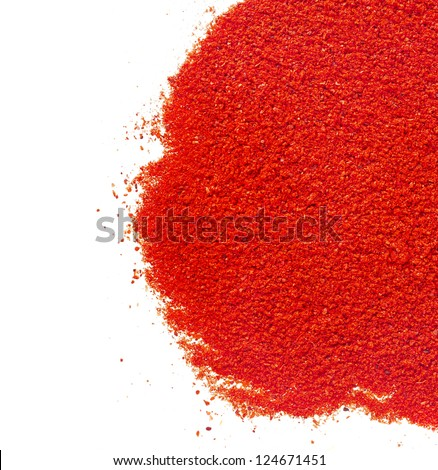 border of ground paprika on white background - stock photo