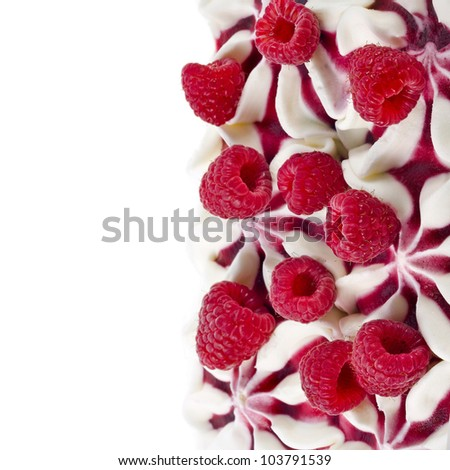 Border of ice cream with fresh berries isolated on white background - stock photo