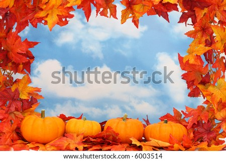 Border of leaves with pumpkins, sky background