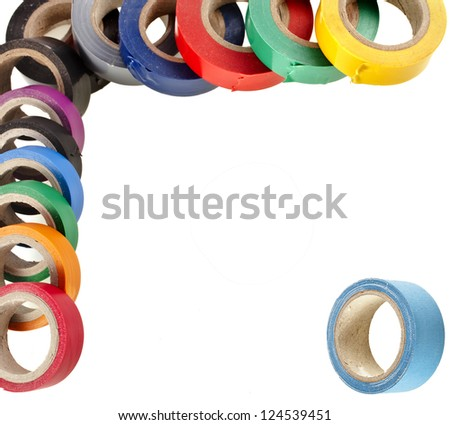 Border of multicolored insulating tapes roll isolated on white background - stock photo