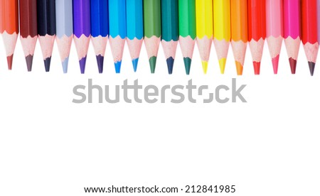 Border of Multicolored Pencils isolated on white background