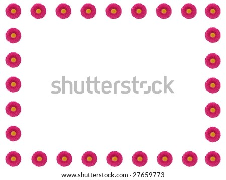 border of pink flowers - stock photo