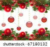 Border of red christmas garland with baubles and ribbons on white. - stock photo