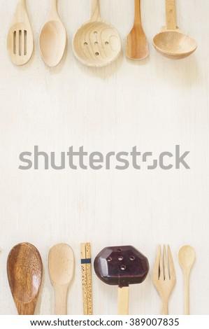 Kitchen Utensils Border still life border wooden kitchen utensils stock photo 389001682