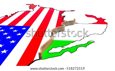 Border Wall Between America and Mexico 3d Illustration on a white background