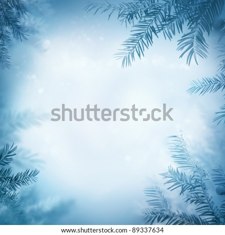 Border winter nature background. View through the pine branch with berries - stock photo
