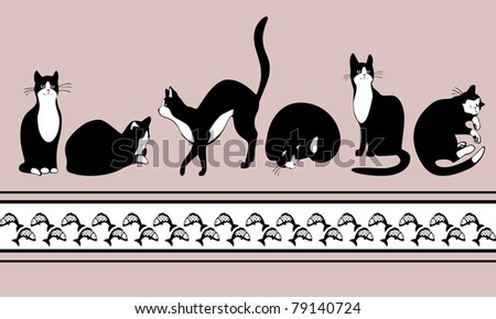 border with black cats and fish. Raster version. vector in portfolio - stock photo