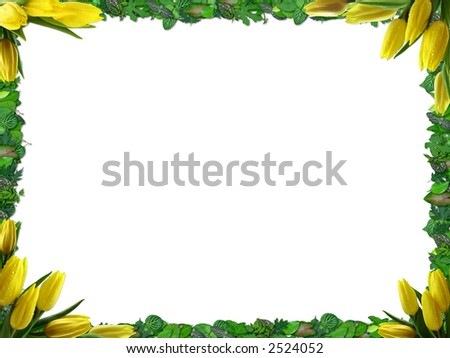 Border with green leafs and yellow tulips - stock photo