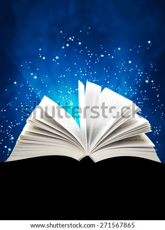 Border with magic book. On blue background - stock photo