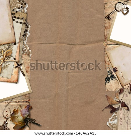 Border with old documents, photo on the vintage background - stock photo