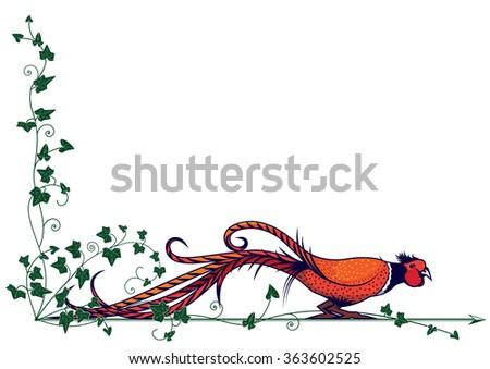 border with stylized pheasant for corner design - stock photo