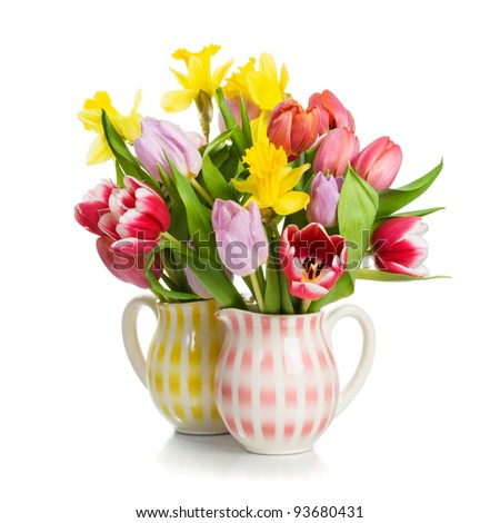 Border with tulips and daffodils closeup on white background - stock photo