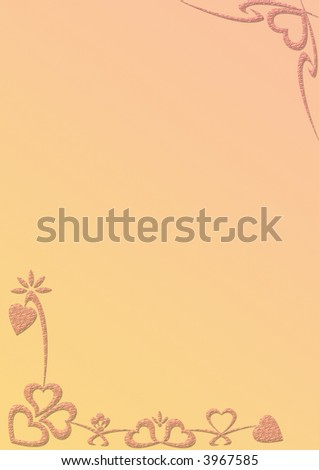 Bordered notepaper with heart shapes good for Valentin's day - stock photo