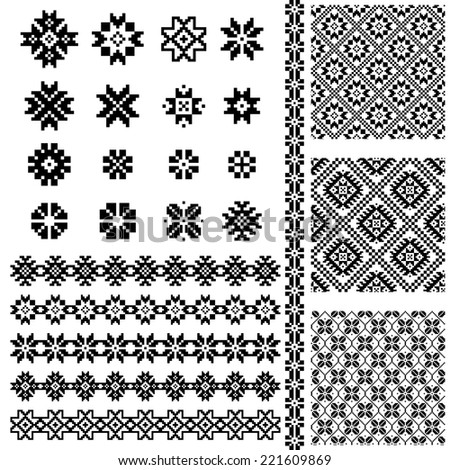 Borders and decoration elements patterns in black and white colors