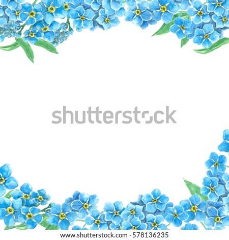 borders made forget me not flowers stock illustration 578136235 shutterstock. Black Bedroom Furniture Sets. Home Design Ideas