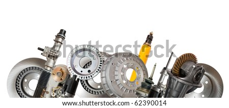 Borders of automotive parts. Isolated on white - stock photo