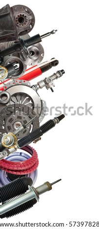 Borders of car parts. Isolated on white - stock photo