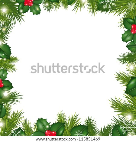 Borders With Snowflakes And Holly Berry - stock photo