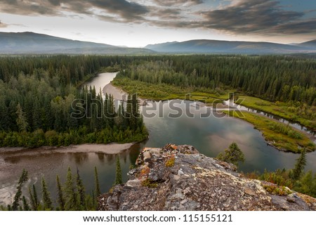 Boreal forest wilderness in beautiful McQuesten River valley in central Yukon Territory, Canada - stock photo