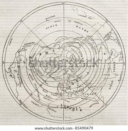 Boreal hemisphere isotherm contour lines. By unidentified author, published on Magasin Pittoresque, Paris, 1842 - stock photo