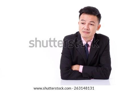 bored and sleepy businessman - stock photo