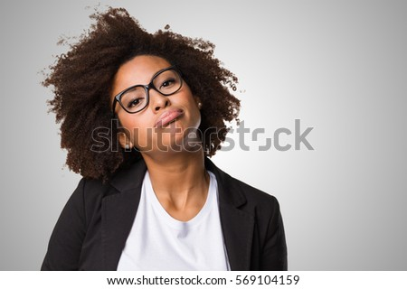 bored business black woman on a grey background