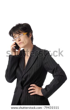 Bored business woman on the phone. isolated on white background