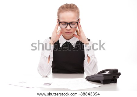 bored business woman with phone on white background
