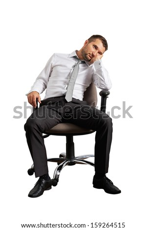 bored businessman sitting on the office chair. isolated on white background - stock photo
