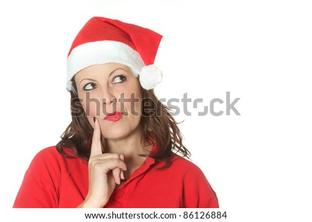 bored christmas girl - stock photo