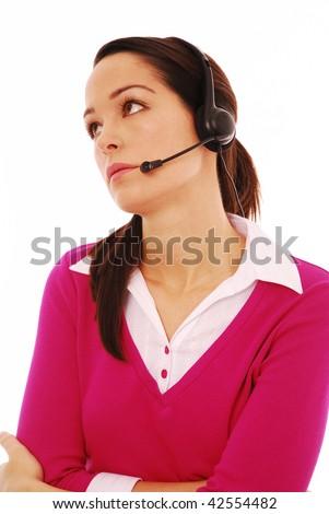 Bored customer service operator on a white background - stock photo
