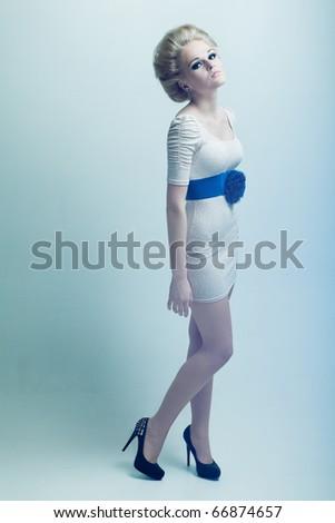 Bored fashion girl - stock photo