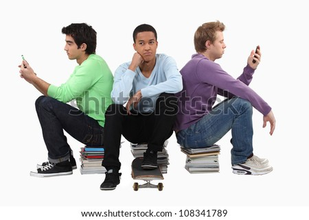 Bored group of young men - stock photo