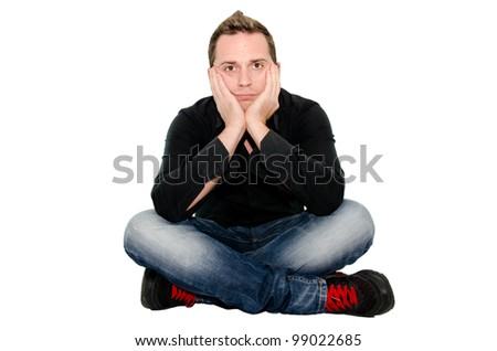 bored guy - stock photo