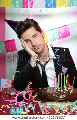 Bored man in a party funny boring gesture expression - stock photo