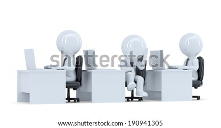 Bored office worker. Isolated. Contains clipping path