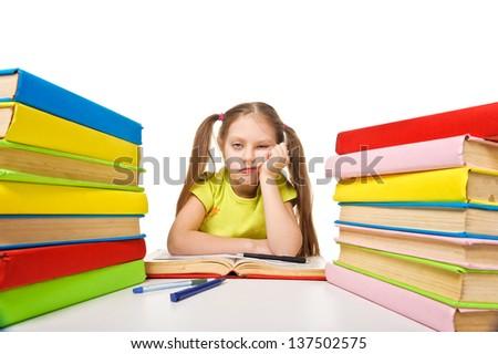 Bored schoolgirl with pile of books. homework. Isolated. - stock photo