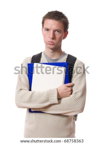 bored student isolated on white background - stock photo