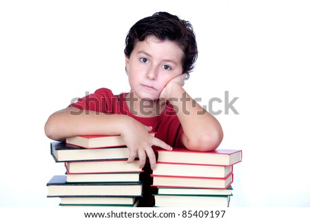 Bored student on a tower of books isolated on white background - stock photo