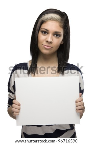 Bored Woman Holding a Blank Sign
