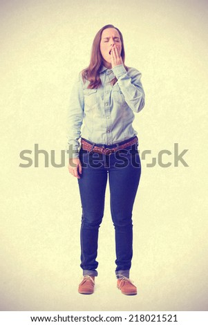 bored young girl - stock photo