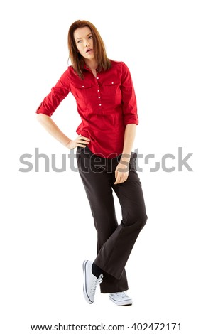 Bored young woman shoot over white background, full body shoot - stock photo