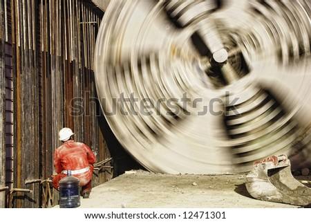 borer at work in undergound building site - stock photo