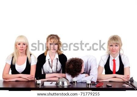 boring business team working together at office, isolated on white - stock photo