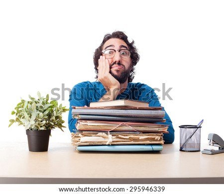 boring businessman with files